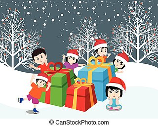 crianças, natal, feliz, feliz