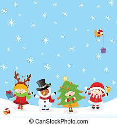 crianças, natal, trajes