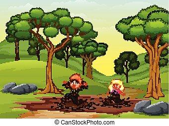 crianças, natureza, poça, lama, tocando, feliz