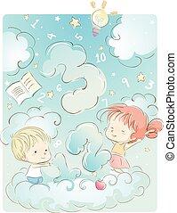 crianças, nuvem, números