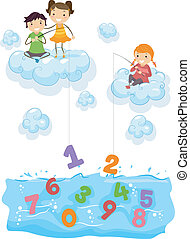 crianças, nuvens, pesca, mar, números
