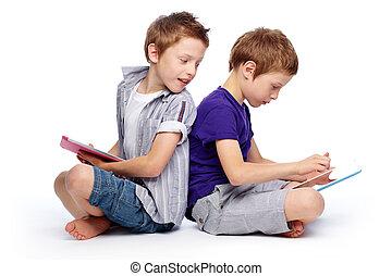 crianças, olá-tecnologia