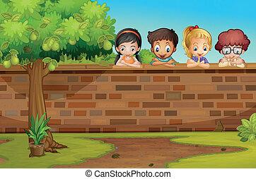 crianças, olhando baixo, parede