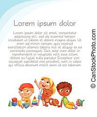 crianças, olhe para cima, com, interest., coloridos, modelo, para, anunciando, folheto