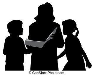 crianças, ou, livro, mãe, vó, leitura