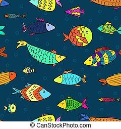 crianças, padrão, ar, peixes, bolhas, caricatura
