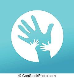crianças pai, junto, mãos