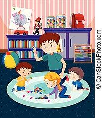 crianças, pai, tocando, brinquedos
