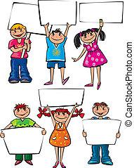 crianças, painél publicitário, placas, segurando, em branco