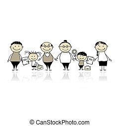 crianças, pais, costas, escola