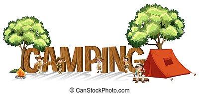 crianças, palavra, acampamento, desenho, fonte, barraca