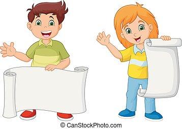 crianças, papel, segurando, em branco, caricatura, feliz