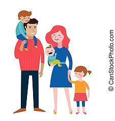 crianças, par, família, divertimento, fazer, feliz