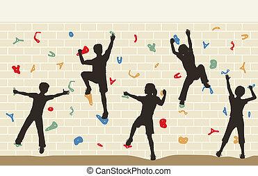 crianças, parede escalando