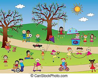 crianças, parque