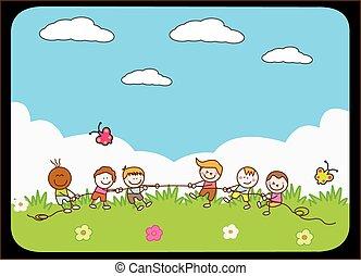 crianças, parque, guerra, puxão
