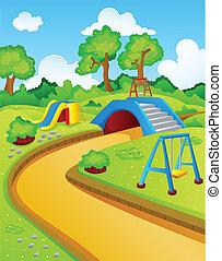 crianças, parque jogo