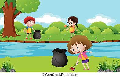 crianças, parque, lavagem cima