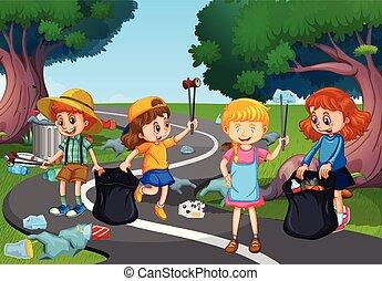 crianças, parque, limpeza, oferecer-se, cima