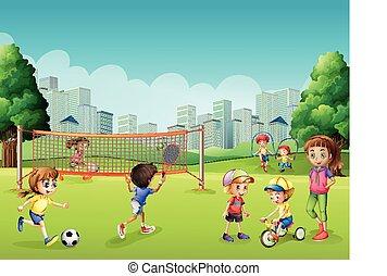 crianças, parque, tocando, esportes