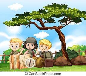 crianças, parque, três, acampamento