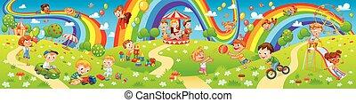 crianças, parque, zone., crianças, rides., pátio recreio, tocando, divertimento
