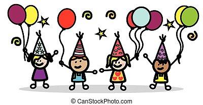 crianças, partido aniversário