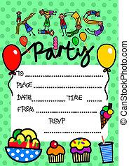 crianças, partido, convite