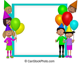 crianças, partido, quadro, grupo, 3d