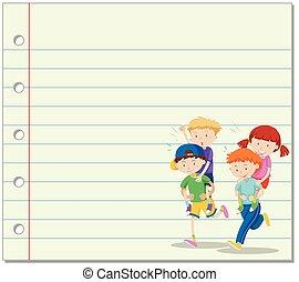 crianças, passeio, costas, papel, piggy, fundo, linha,...