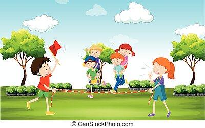 crianças, passeio, parque, costas, piggy, tocando