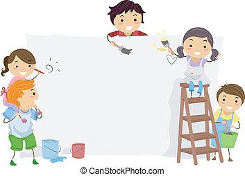 crianças, pintor