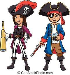 crianças, pirata, caricatura