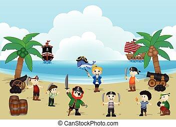 crianças, pirata, ilustração