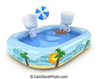 crianças, piscina