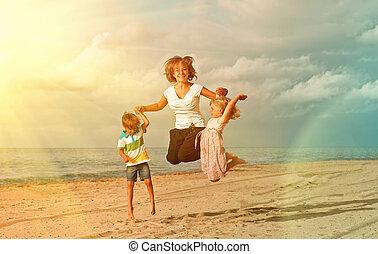 crianças, praia, pular, oceânicos
