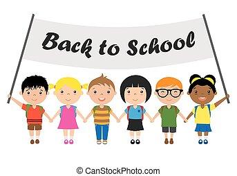 crianças prendem mãos, com, um, sinal, apoie escola