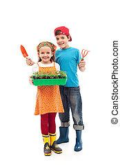 crianças, preparado, para, planta, a, seedlings