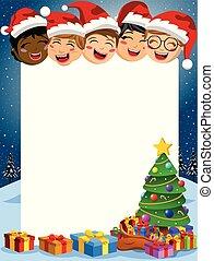 crianças, presente, vertical, árvore, quadro, multicultural, atrás de, caixas, em branco, xmas, feliz