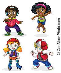 crianças, pretas, caucasiano
