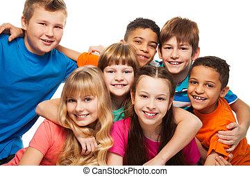 crianças, protuberância, feliz