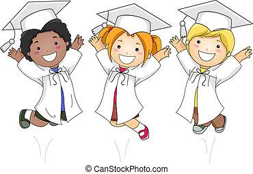crianças, pular, felizmente