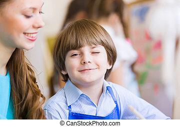 crianças, quadro, com, professor