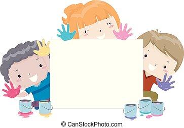 crianças, quadro, tábua, ilustração, mão
