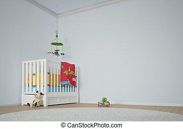 crianças, quarto jogo, com, cama