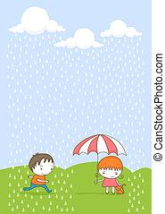 crianças, rain.