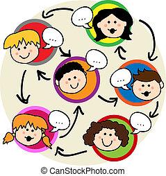 crianças, rede, social