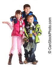 crianças, roupas inverno