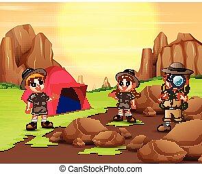 crianças, saída, explorador, acampamento, natureza