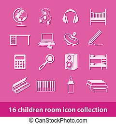 crianças, sala, ícones